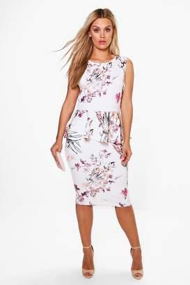 boohoo Plus Ruby Sleeveless Peplum Midi Dress