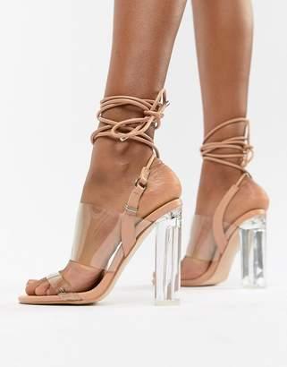 76d879a100 Public Desire Trance Blush Clear Detail Sandals