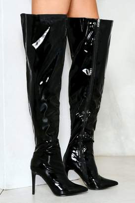 Nasty Gal Slippery When Wet Patent Thigh-High Boot