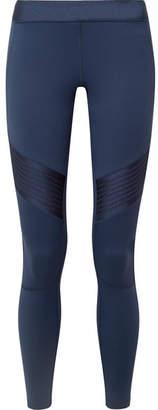 Monreal London Biker Satin-paneled Stretch Leggings - Midnight blue
