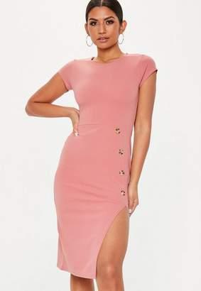 Missguided Pink Thigh Split Horn Button Midi Dress