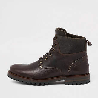 River Island Brown leather croc embossed boots
