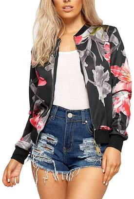 RIDDLED WITH STYLE Ladies Floral Rose Printed Zip Up Bomber Jacket Womens Full Sleeve Coat Blazer#(Black Grey Floral Rose Printed Zip Up Bomber Jacket##Womens)
