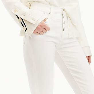 "J.Crew Petite 9"" high-rise toothpick jean in white with button fly"