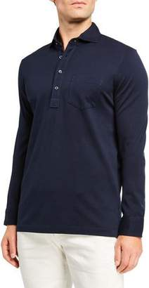 Ralph Lauren Men's Washed Long-Sleeve Pocket Polo Shirt, Navy