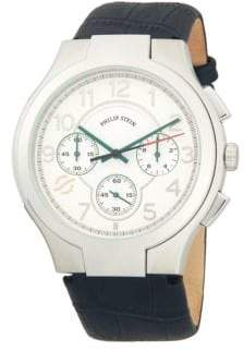 Philip Stein Teslar Classic Stainless Steel Chronograph Embossed Leather-Strap Watch