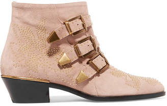 Chloé Susanna Studded Suede Ankle Boots - Neutral