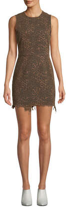 Alexander Wang Frayed Leopard-Print Sleeveless Mini Dress