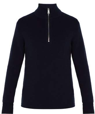 Burberry Knight Embroidered Half Zip Cashmere Sweater - Mens - Navy