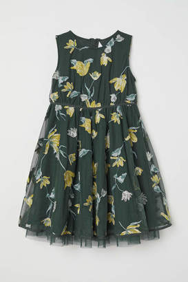 H&M Dress with Embroidery - Dark green/floral - Kids