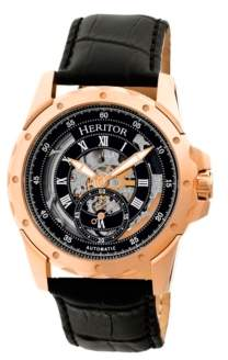 Heritor Automatic Armstrong Rose Gold & Black Leather Watches 44mm