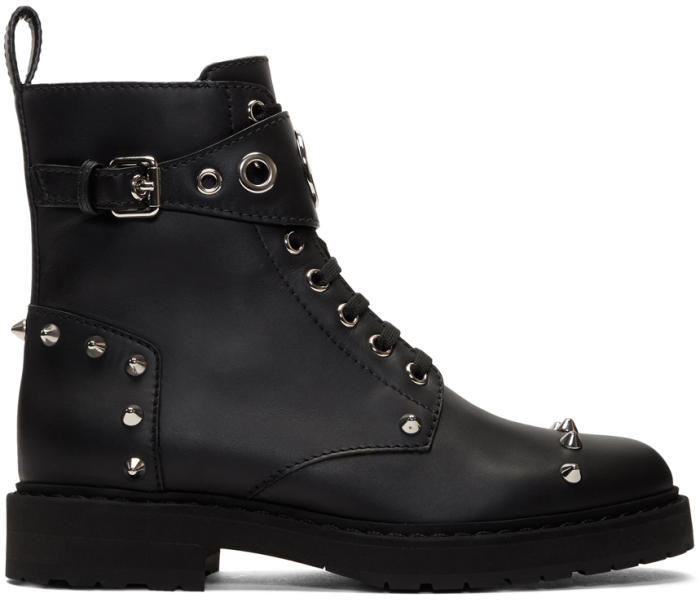 Fendi Black Lug Sole Biker Boots
