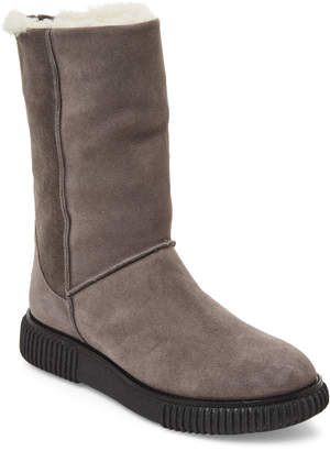 Moncler Grey Shimmer Suede Real Fur-Lined Boots