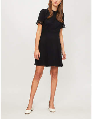 Claudie Pierlot Raven embroidered-trim crepe dress