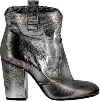 Elena Iachi Silver Leather Ankle Boots