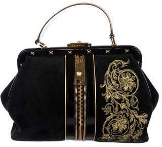 Versace Suede Rockstud Handle Bag