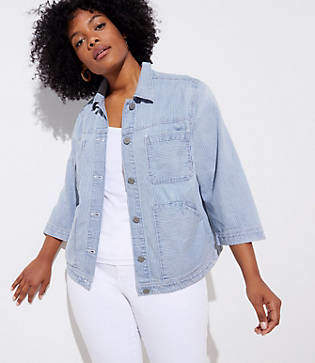 LOFT Plus Striped Denim Pocket Jacket