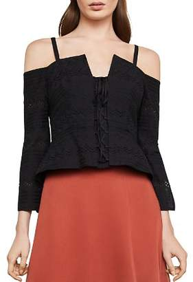 BCBGMAXAZRIA Cold-Shoulder Eyelet Lace-Up Top