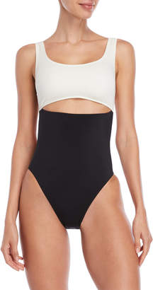 Solid & Striped Natasha Two-Tone One-Piece Swimsuit