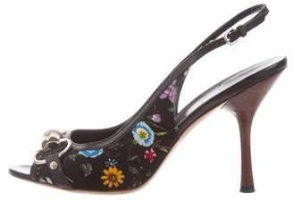 Gucci Floral Horsebit Pumps