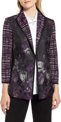 Ming Wang Woven Floral & Knit Jacket
