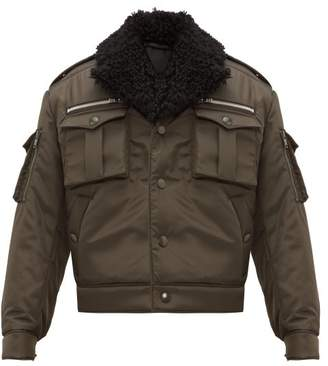 Prada Shearling Collar Nylon Flight Jacket - Mens - Khaki