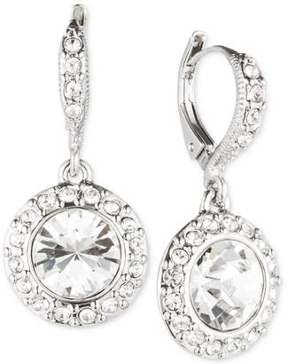 Givenchy Rhodium-Plated Crystal Round Drop Earrings