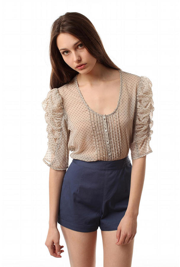 Silence & Noise Rouched Sleeve Chiffon Top