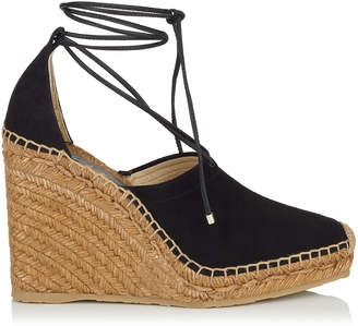 Jimmy Choo DULCET 110 Black Suede and Nappa Espadrille Wedge