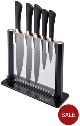 Arthur Price 5-Piece Black And Gold Knife Block Set