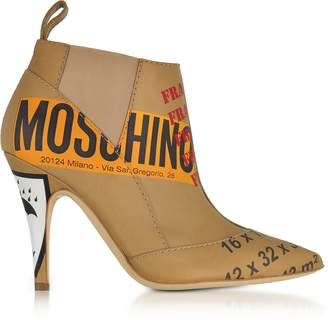 Moschino Beige Label Printed Leather Booties