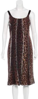 Blumarine Leopard Print Midi Dress