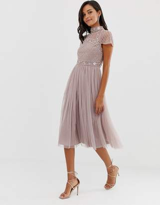 Asos Design DESIGN midi dress with embellished crop top and tulle skirt