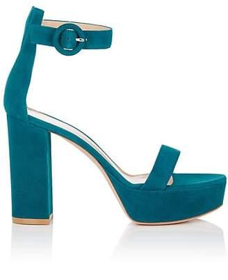 Gianvito Rossi Women's Portofino Suede Platform Sandals - Md. Blue