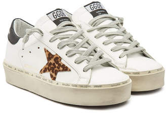 Golden Goose Hi Star Leather Platform Sneakers with Calf Hair