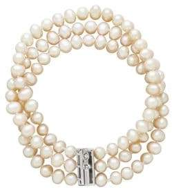 Lord & Taylor Three-Row Diamond and Freshwater Pearl Bracelet