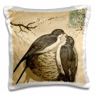 3dRose Birds on a Nest with Cherry Blossom Vintage Art - Pillow Case, 16 by 16-inch