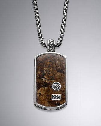 "David Yurman Exotic Stone Tag Necklace, Bronzite, 22""L"