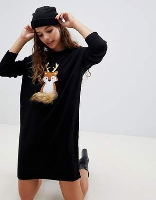 Brave Soul foxie christmas jumper dress