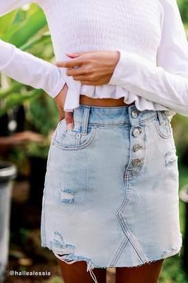 BDG Rider Denim Button-Fly Mini Skirt