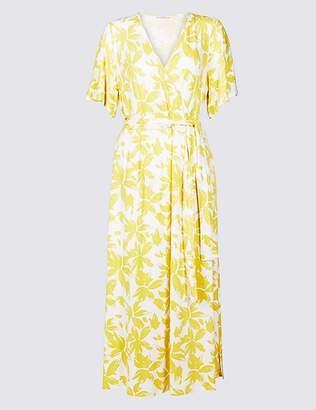 Marks and Spencer Floral Print Half Sleeve Wrap Midi Dress
