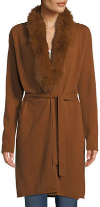Neiman Marcus Luxury Cashmere Duster Cardigan w/ Fox Fur Collar