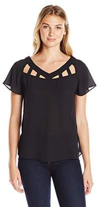 Lark & Ro Women's Flutter Sleeve Cut Out Top