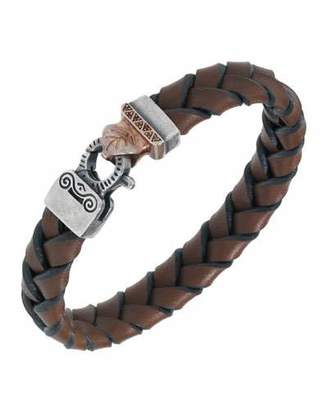 Marco Dal Maso Men's Woven Leather Bracelet w/ 18k Gold-Plated Clasp, Brown