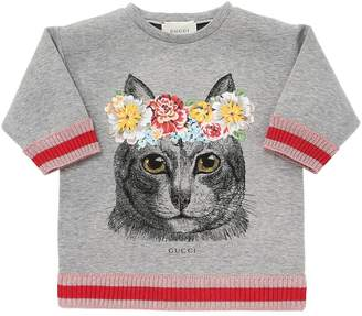 Gucci Cat Printed Doubled Jersey Sweatshirt