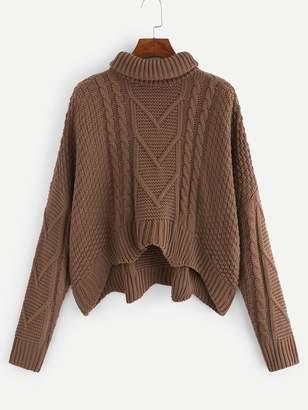 Shein Plus Mixed Knit Dip Hem Jumper