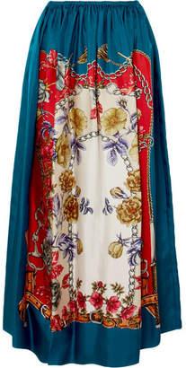 Gucci Printed Silk-twill Midi Skirt - Cobalt blue