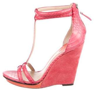 Brian Atwood Snakeskin Wedge Sandals