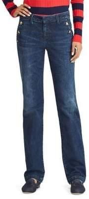 Lauren Ralph Lauren Petite Button-Trimmed Straight Jeans