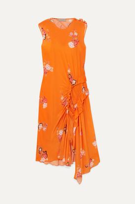 Preen Line Antoinette Asymmetric Ruffled Floral-print Crepe De Chine Dress